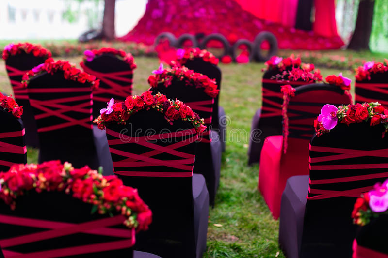 Wedding chair. With at an outdoor wedding party royalty free stock image