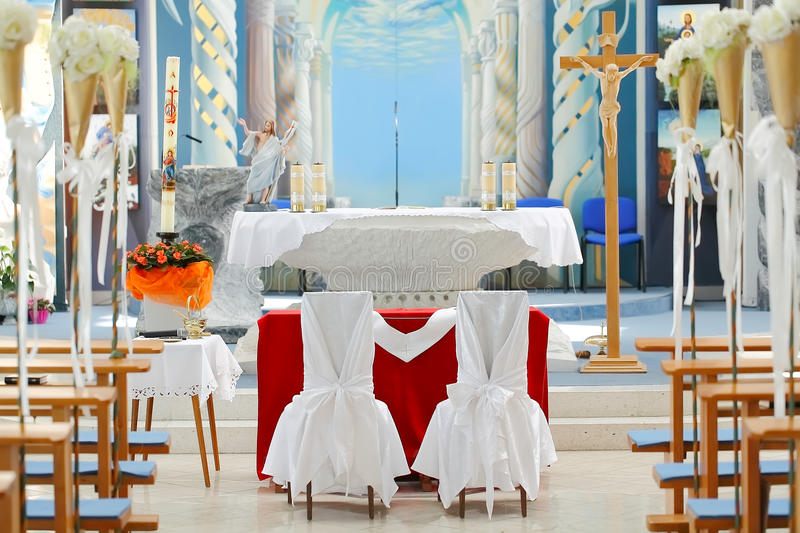 Wedding chairs in church stock photography