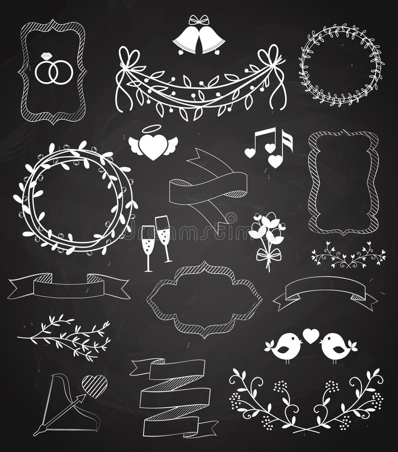 Wedding Chalkboard Banners And Ribbons Set Stock Vector