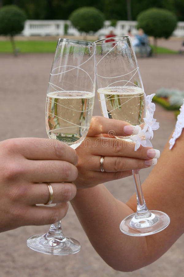 Wedding champagne. Pair of wedding champagne flutes stock photo