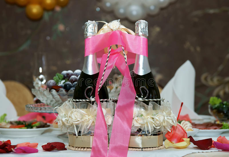 Wedding champagne. On a table royalty free stock photos