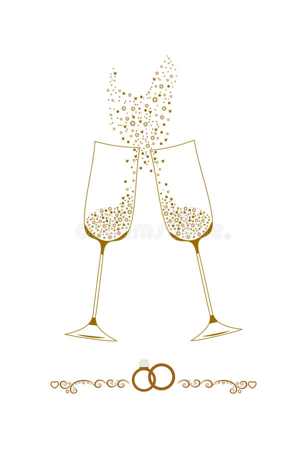 Wedding champagne glasses illustration stock images