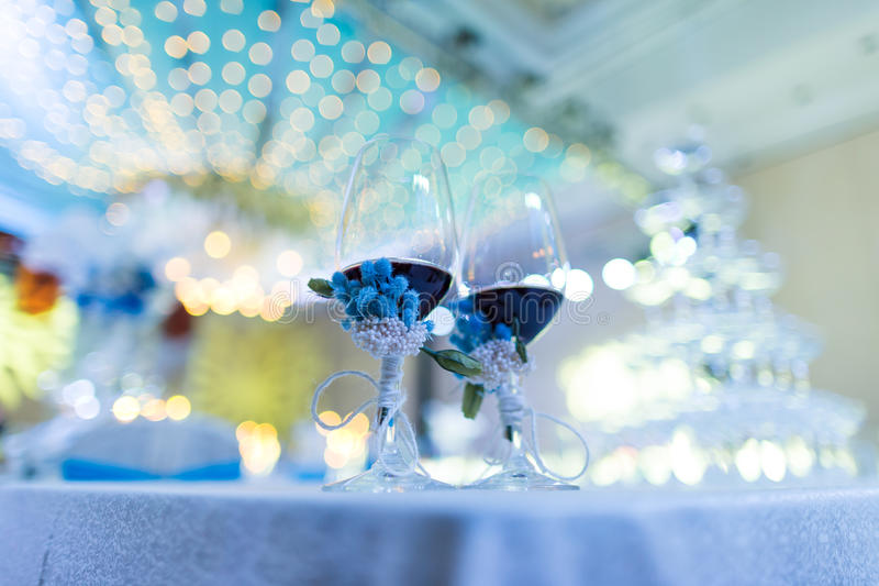 Wedding Champagne glasses stock photos