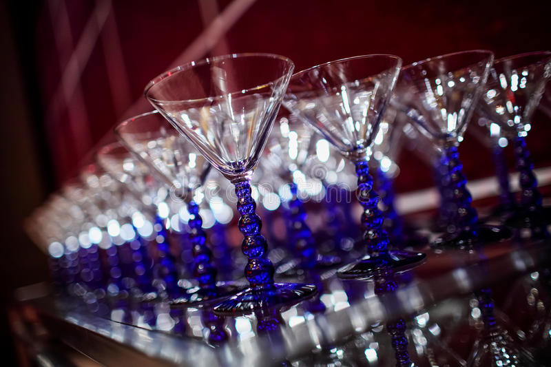 Wedding Champagne glasses. At indoor wedding stock photography