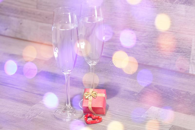 Wedding champagne glasses, romantic heart background royalty free stock photos