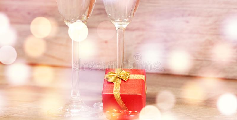 Wedding champagne glasses, romantic heart background stock images