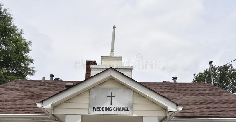 Wedding Chapel for Marriage Ceremonies Wide Angle. A wedding chapel is a building or room, other than a legal court, where marriages are regularly performed stock photos