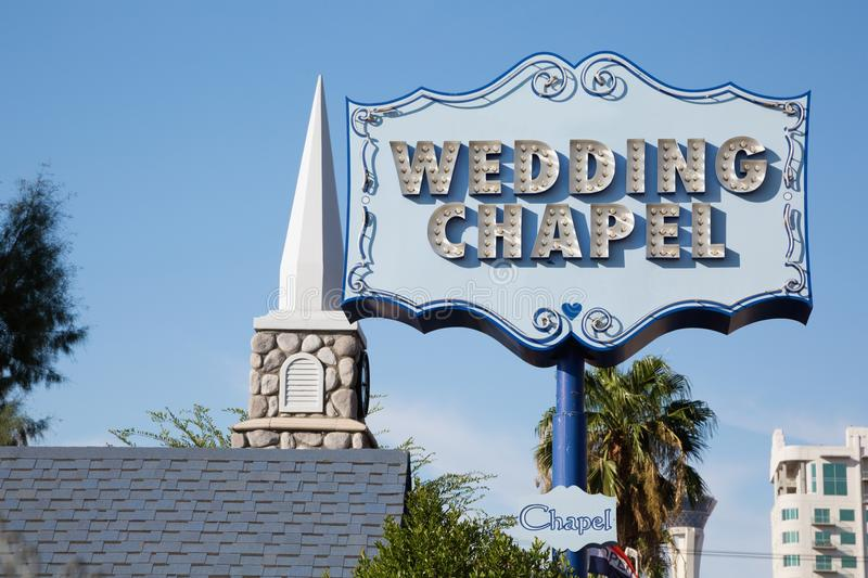 Wedding chapel sign in Las Vegas, Nevada royalty free stock photography