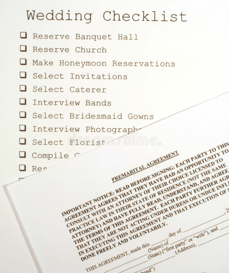 Wedding Checklist and Premarital Agreement stock images