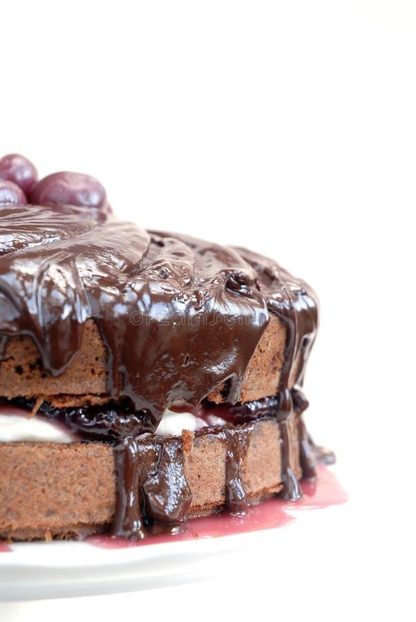 Wedding cherry-chocolade cake stock image