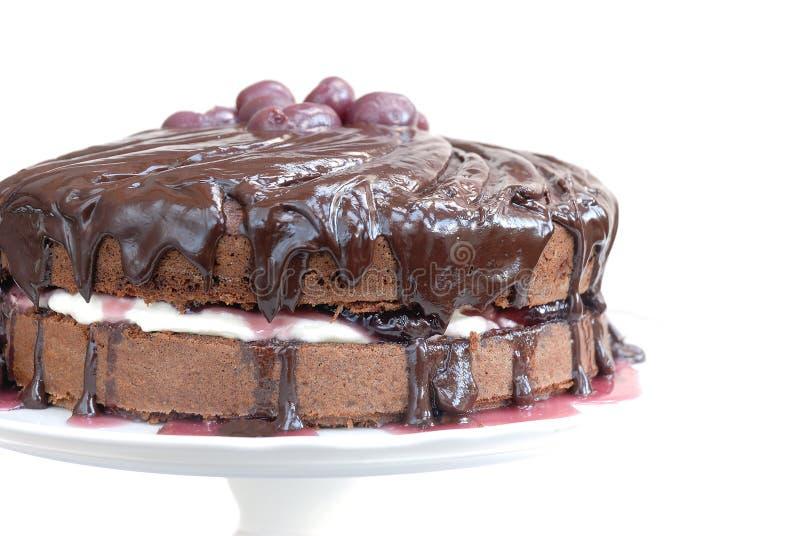 Wedding cherry-chocolade cake royalty free stock photos