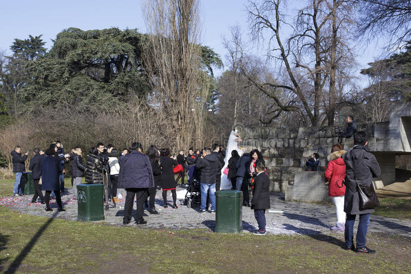 Wedding of Chinese people in Parco Sempione stock photos