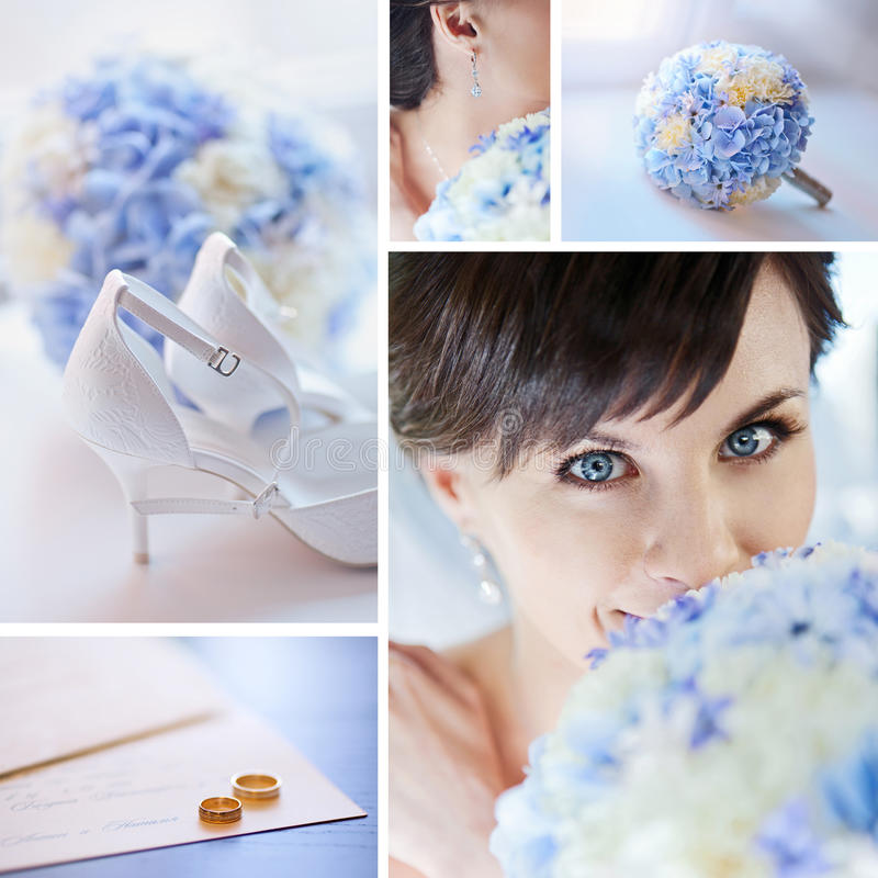 Wedding Collage. With details in blue tones stock photos