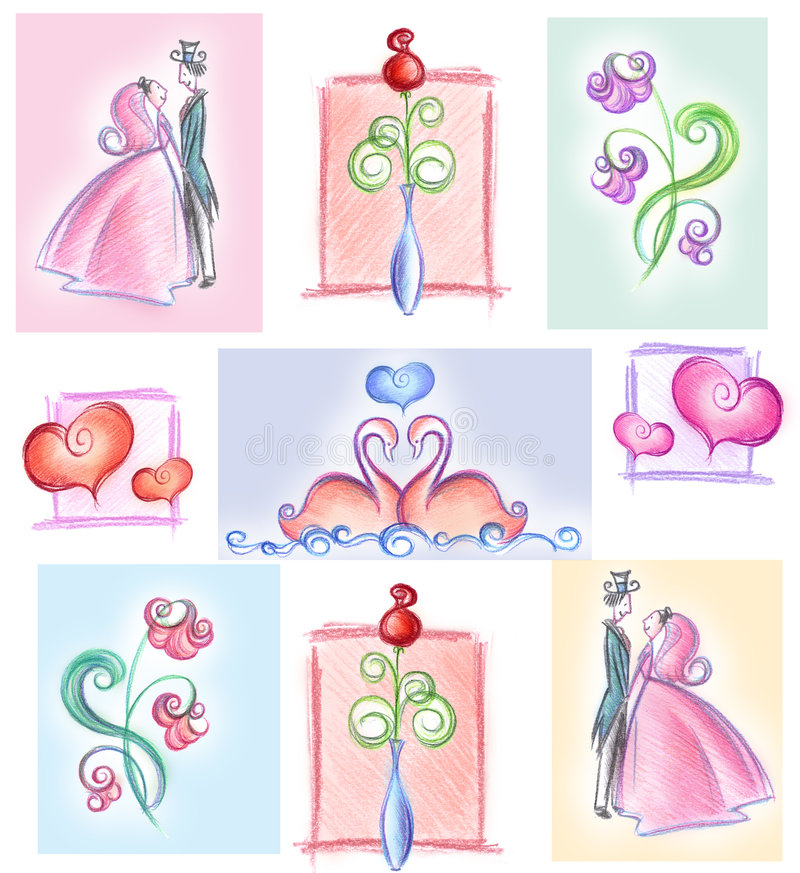 Wedding collage. A collage of different images about wedding and romantic love. Hand made illustration royalty free illustration