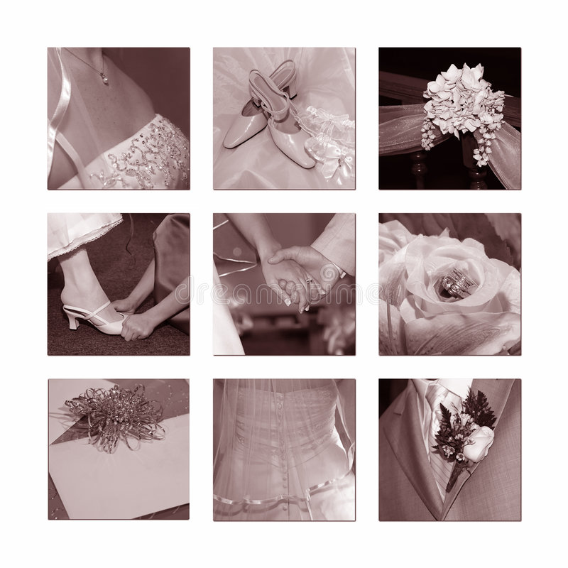 Wedding Collage. Collage of nine wedding images