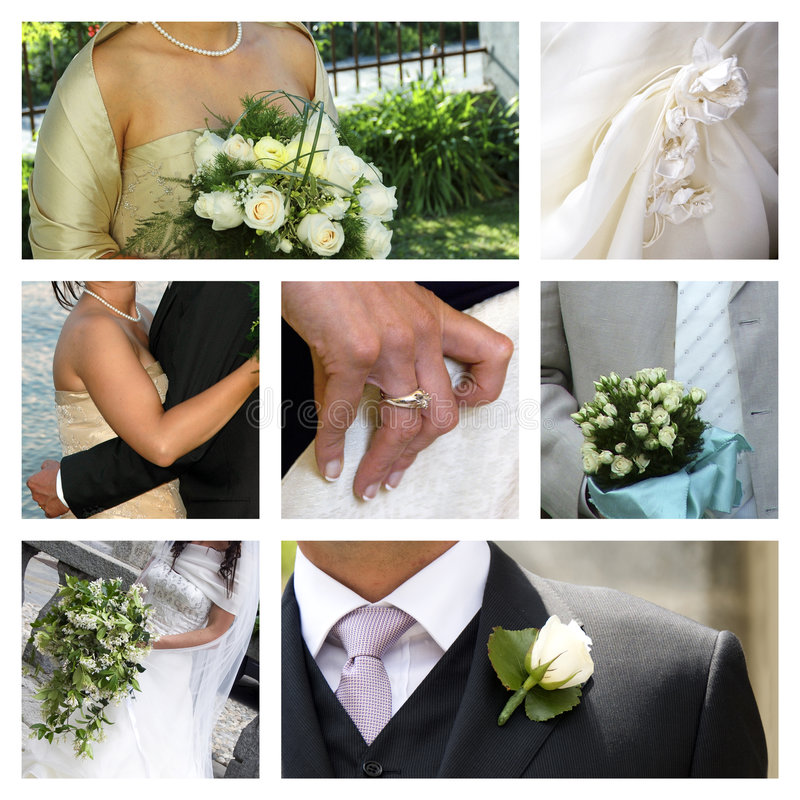 Wedding collage. A collage of wedding photos stock photo