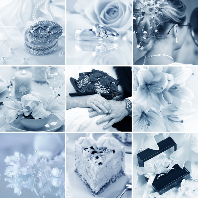 Wedding collage. Beautiful collage of nine wedding motives in blue tone royalty free stock photography