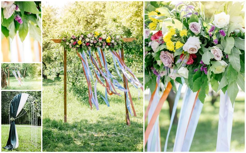Wedding collage - isle to wedding arc outdoors, flowers and decoration. royalty free stock photos