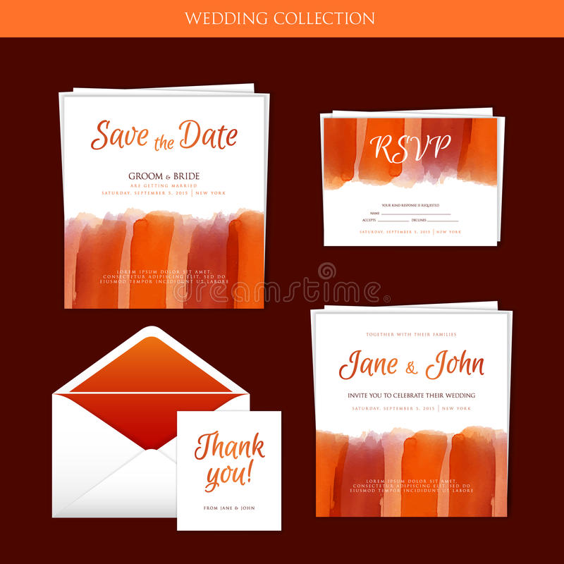 Wedding collection with watercolor. Vector illustration of Wedding collection with watercolor vector illustration