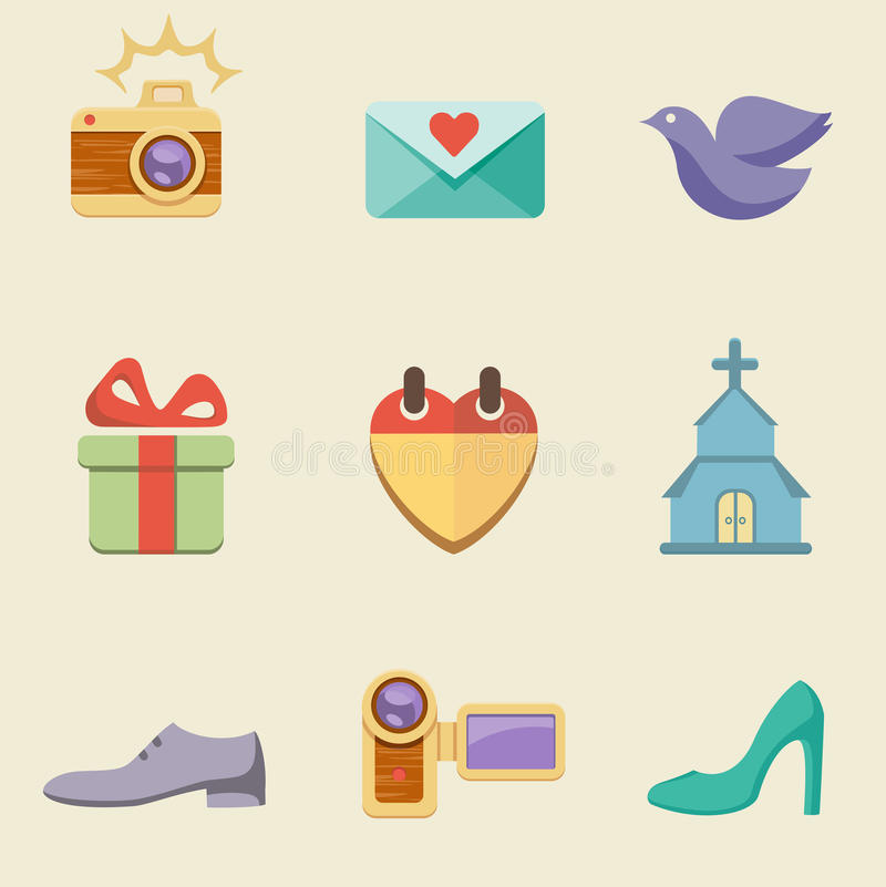 Download Wedding color icon set stock vector. Illustration of color - 30904479