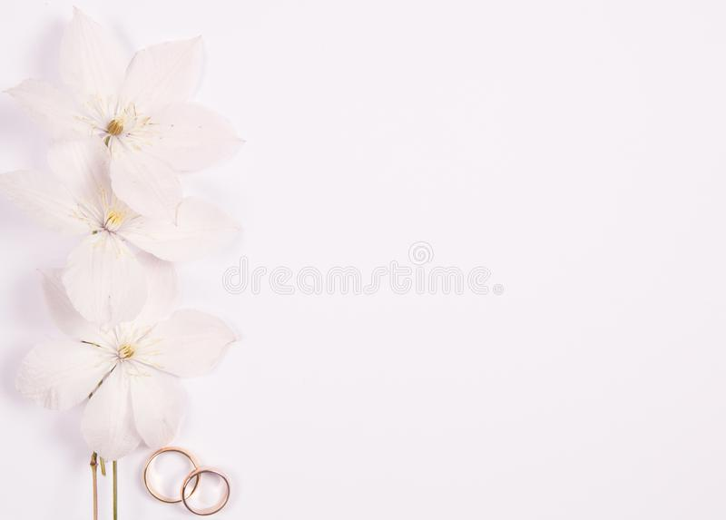 Wedding concept with white flowers royalty free stock photo