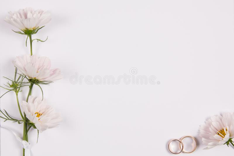 Wedding concept with white flowers stock photos