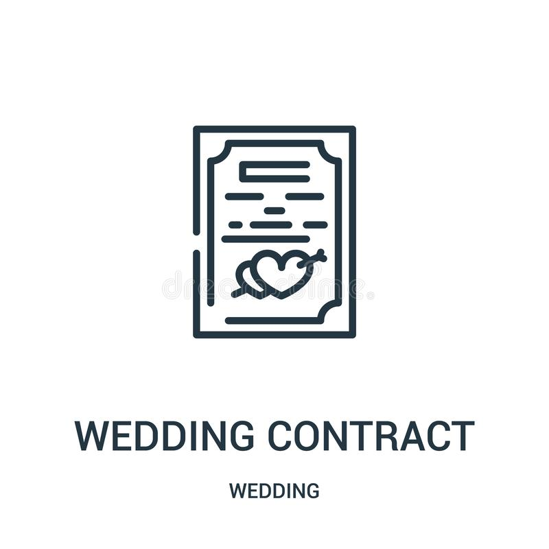 wedding contract icon vector from wedding collection. Thin line wedding contract outline icon vector illustration. Linear symbol royalty free illustration