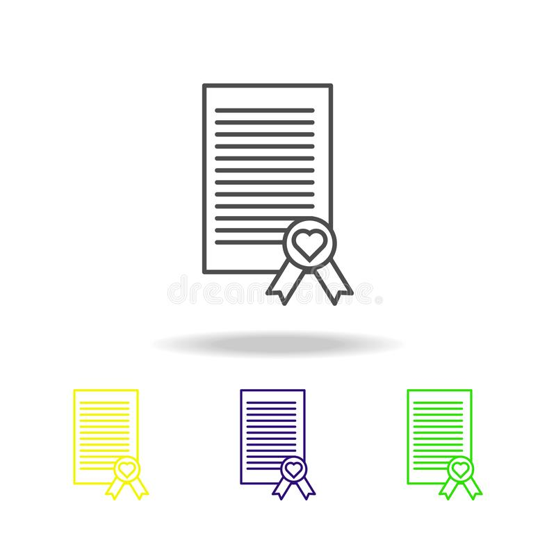 wedding contract multicolored icon. Element of wedding, thin line multicolored icon can be used for web, logo, mobile app, UI, UX stock illustration