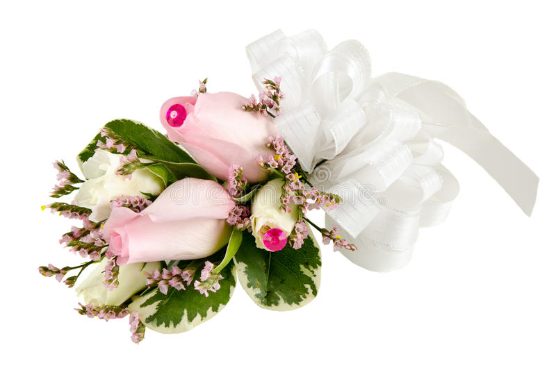 Wedding corsage with pink roses stock photography