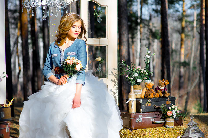 Wedding in country style in the woods royalty free stock photography
