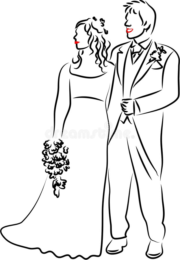 Line Drawing Wedding Couple : Wedding couple royalty free stock photography image