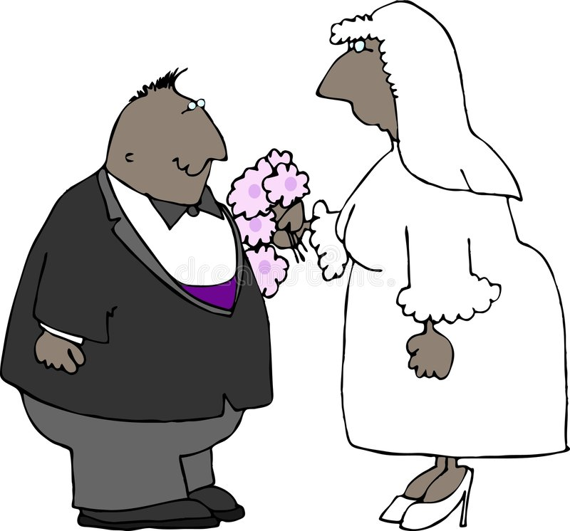 Wedding Couple. This illustration that I created depicts a black wedding couple royalty free illustration