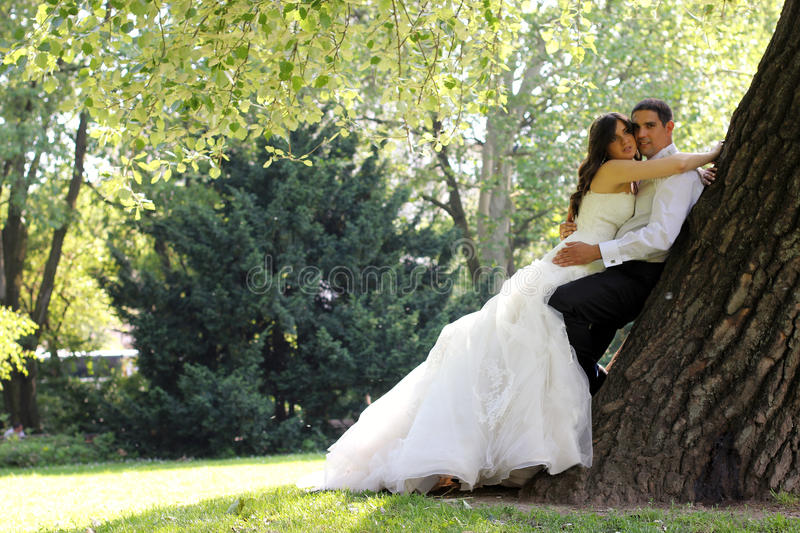Wedding couple. In the park royalty free stock images