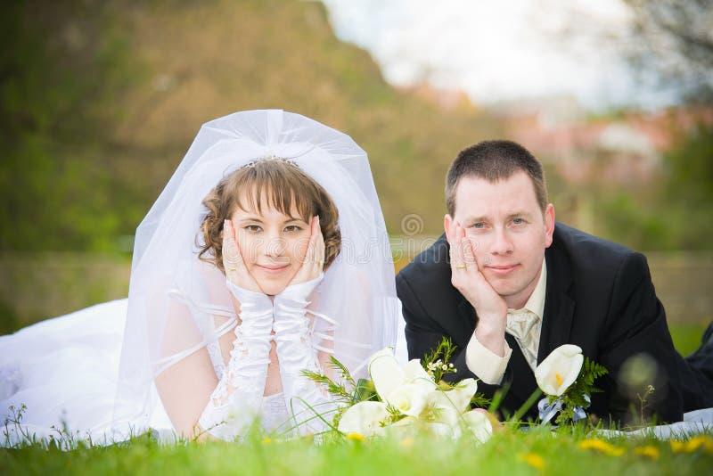 Wedding couple. Young beautiful wedding couple outdoor stock photo