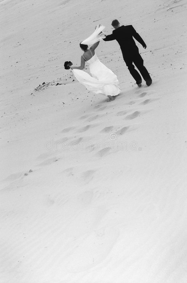 Wedding couple on beach royalty free stock photos