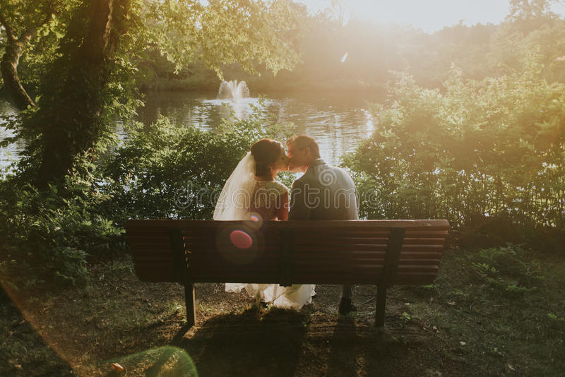 Wedding Couple On Bench Free Public Domain Cc0 Image