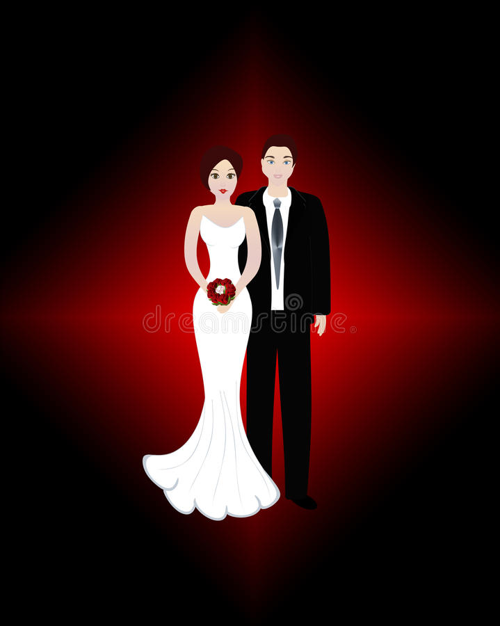 Wedding couple - bride and groom. Bride and groom wedding in love royalty free illustration