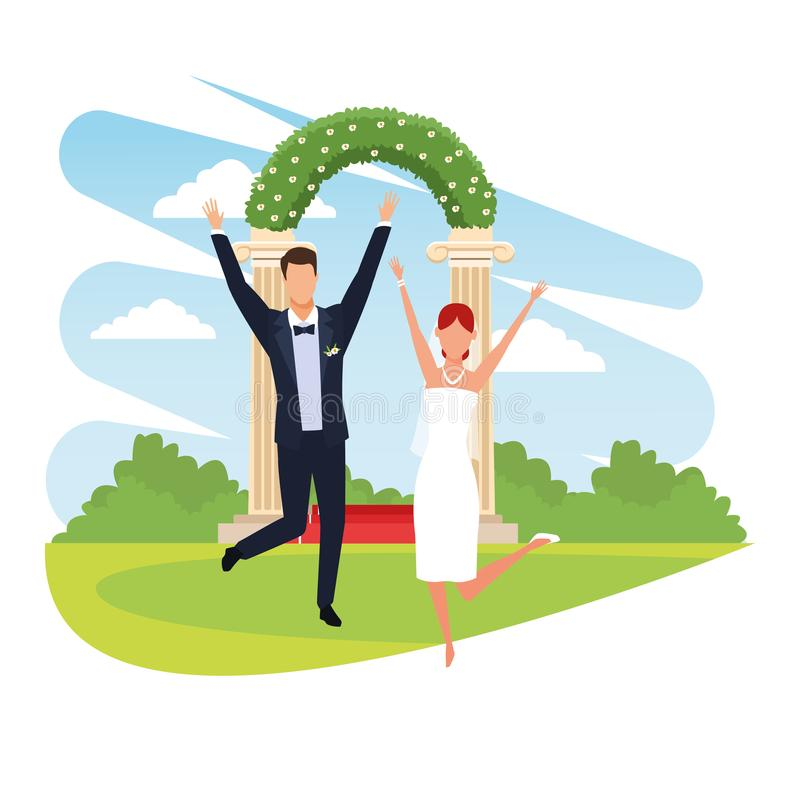 Jumping Bride Stock Vector. Illustration Of Happiness