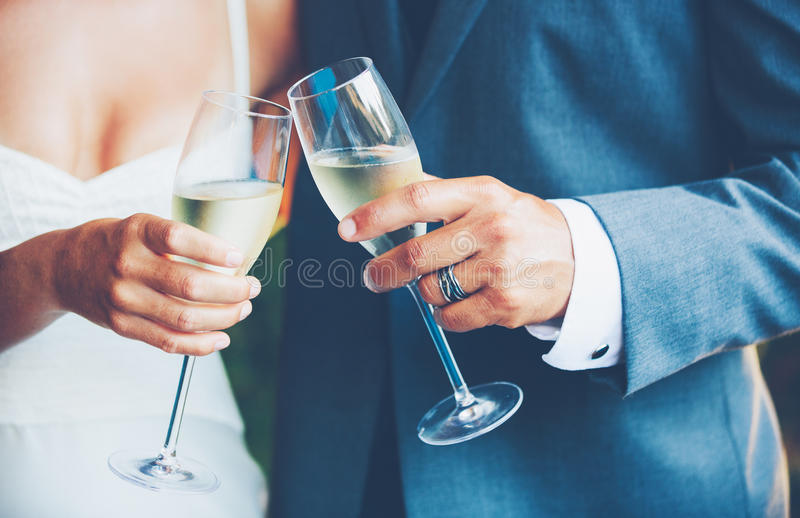 Wedding Couple Champagne. Toast outdoor stock images