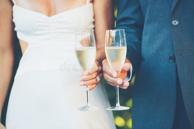 Wedding Couple Champagne. Toast outdoor royalty free stock photography