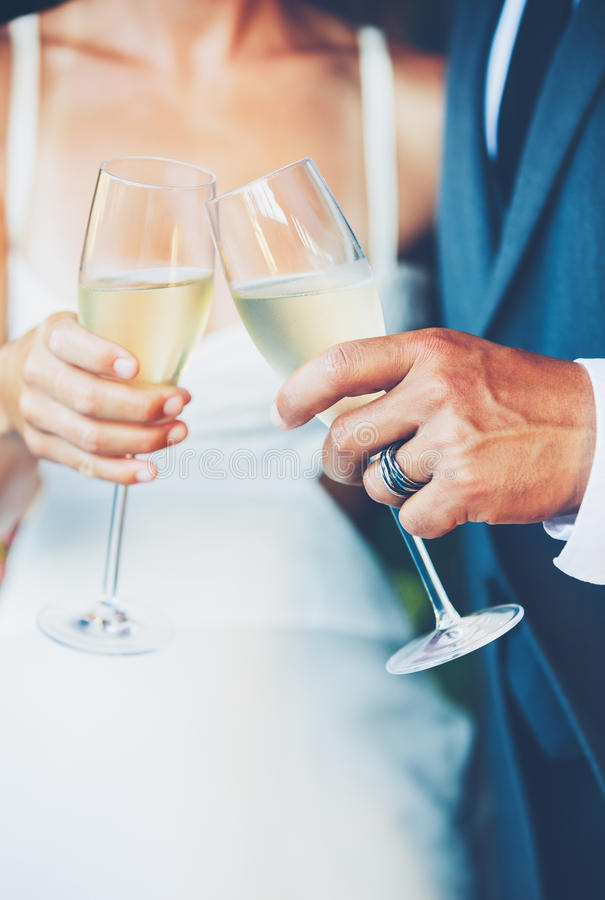 Wedding Couple Champagne. Toast outdoor royalty free stock photos