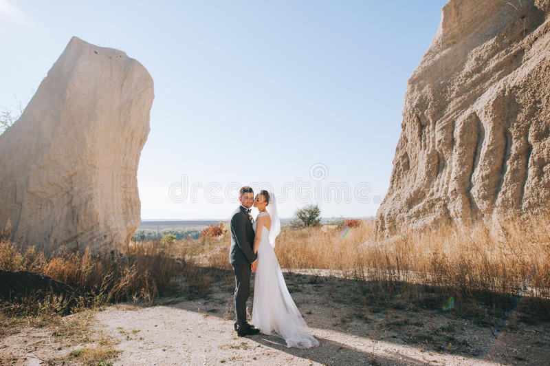 Wedding couple at the clay career royalty free stock photo