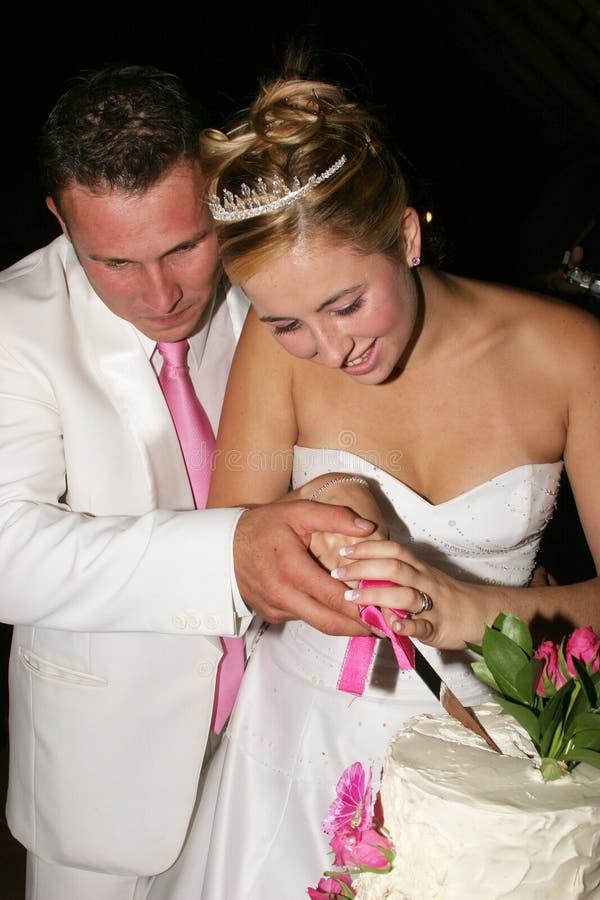 Wedding Couple cutting the cake stock image