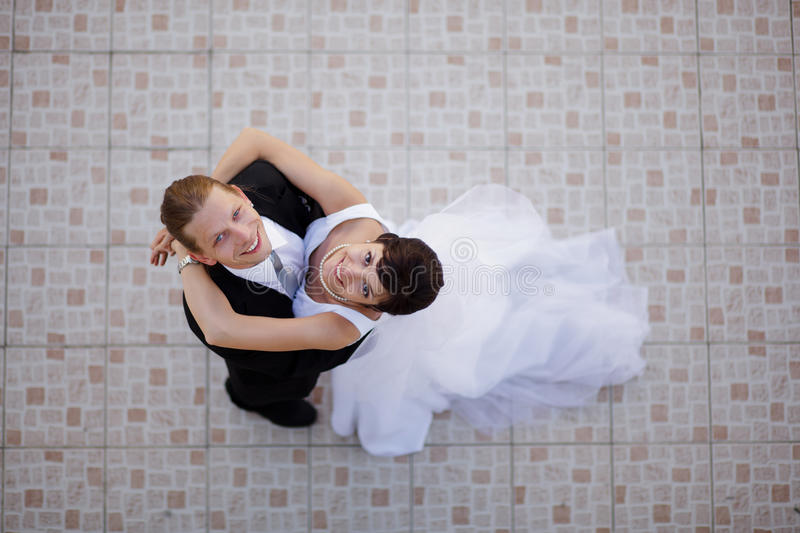 Wedding couple dancing. Wedding couple in their wedding day stock images