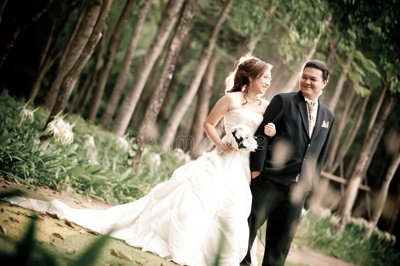 Wedding couple enjoying romantic moments outsides on a summer. Happy bride and groom on their wedding. royalty free stock photos