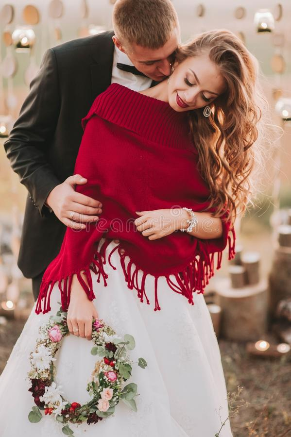Wedding couple in the evening. stock photography