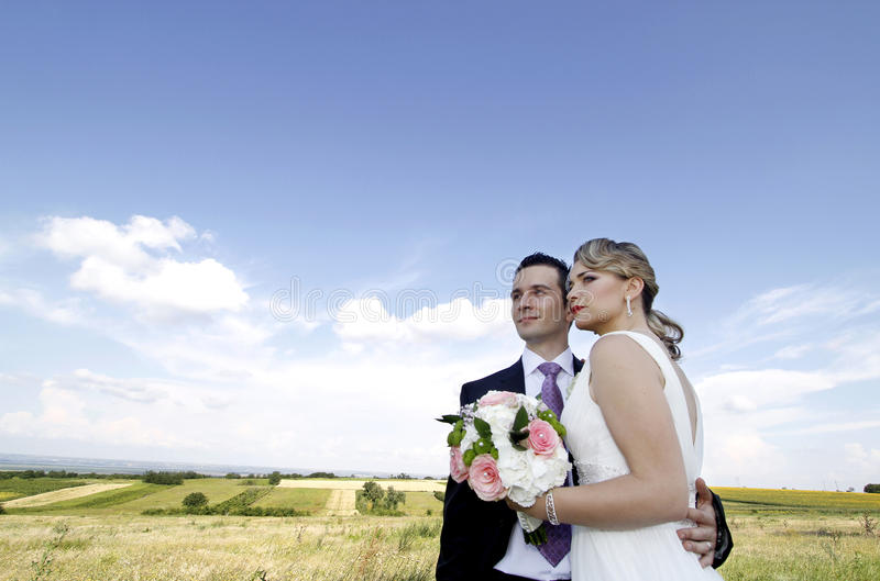 Wedding couple on the field royalty free stock photo