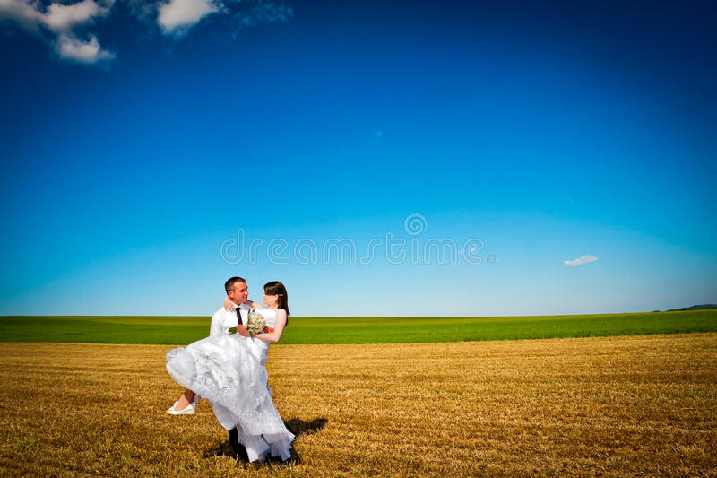 Wedding couple in the field stock photography