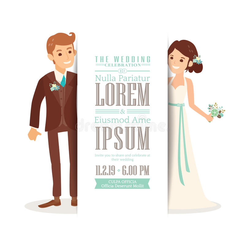 Download Wedding Couple Groom And Bride On White Background, Wedding  Invitation Card Template Stock Vector  Brides Invitation Templates