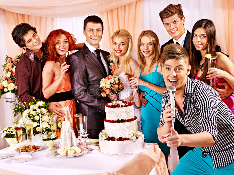Wedding Couple And Guests Sing Song Royalty Free Stock Image